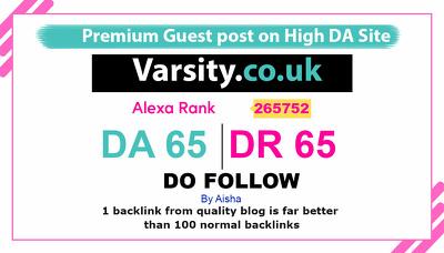 Guest Post on Varsity co uk  varsity.co.uk DA65 Do Follow
