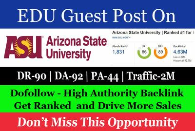 Guest Post on Arizona State University asu.edu DA 91 - Dofollow