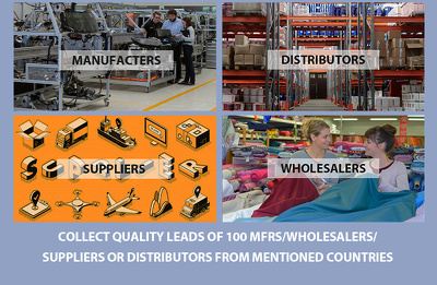 Quality Leads of 100 Mfrs/Wholesalers/Suppliers or Distributors