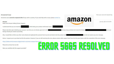 Resolve Error 5665 for your Amazon product listing