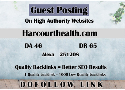 Guest post on Harcourthealth - Harcourthealth.com - DR 65