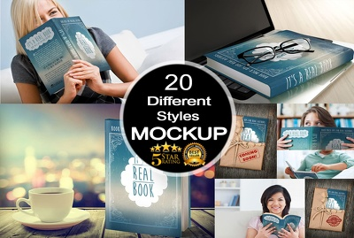 Create amazing 3d book cover mockup in 20 different styles