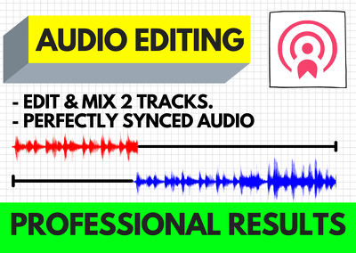 Edit 2 audio tracks, master mix podcast interviews perfectly