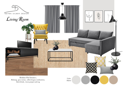 Provide Online Interior Design with moodboard and shopping list
