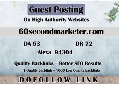 Guest post on 60secondmarketer - 60SecondMarketer.com - DR 72