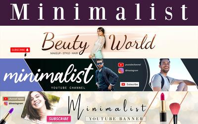 Design minimalist youtube banner and logo