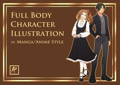 Draw full body character illustration in manga/anime style