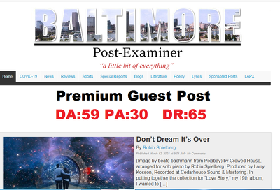 Publish a Guest post on BaltimorePostExaminer DA59, DR65