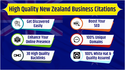 30 High Quality New Zealand Business Listings / Citations