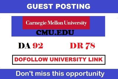 Edu Guest Post On CMU, CMU.edu – DA92 & DR91– DoFollow Links