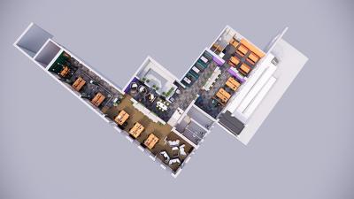 Create a 3D CGI aerial floor plan render including furniture