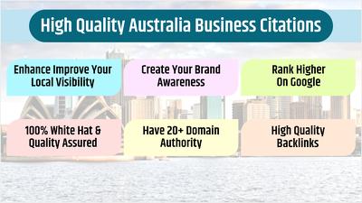 25 High Quality Australia Business Listings / Citations