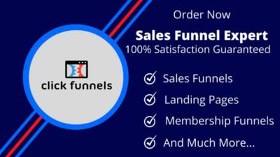 Design clickfunnels sales funnel & landing page in click funnel