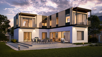 Create 2 photorealistic architectural renderings