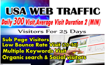 Send USA Daily 300 Visitors 2 MIN Long Visit Within 25 Days