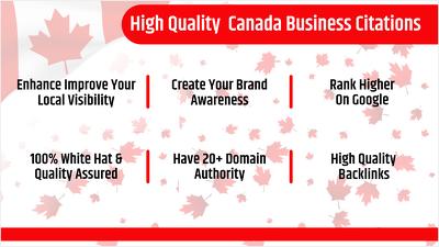 25 High Quality Canada Business Listings / Citations