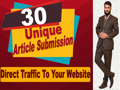 Create 30 unique article submission high quality DA PA backlinks
