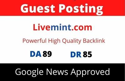 Publish Guest Post on Livemint, Livemint.com DA 89