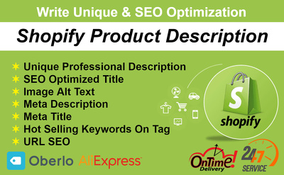 Write product description for shopify store up to 10 products