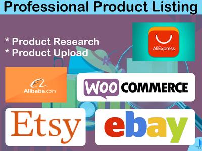 Do dropshipping product listing on eBay, Etsy or WooCommerce