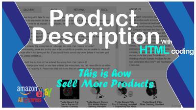 SEO optimized amazon & eBay description with HTML code