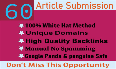 60 Article or PDF Submission Backlinks to Boost Organic Ranking