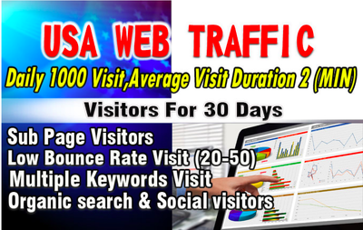Provide 1000 Daily USA Web Traffic 2 mins Visit Time For 30 Days