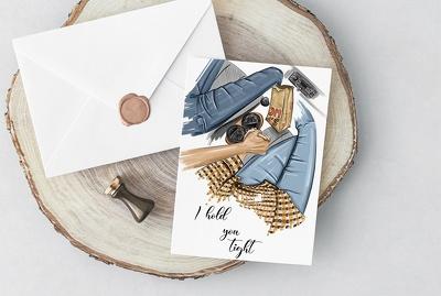 Draw cute greeting card, postcard
