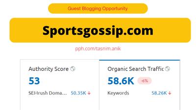 Sportsgossip.com Sports niche guest post 58600/month Traffic