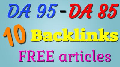 Build 10 DA 95-DA 85 article submission backlinks