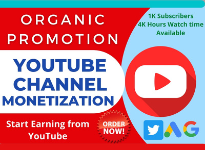 Promote Your Youtube Channel & Get 1k sub 4k Hour watchtime