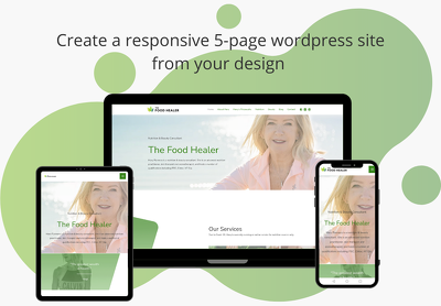 Create a responsive 5-page wordpress site (with Design from you)