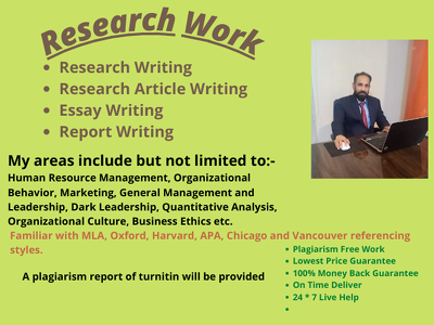 Handle research work and research article up to 3000 words