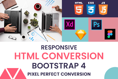 Convert Psd |sketch|xd |Figma to responsive HTML5 |Bootstrap
