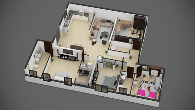 Create amazing furnished 3D floor plan rendering for $95