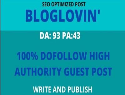 Write and publish guest post on Bloglovin DA93