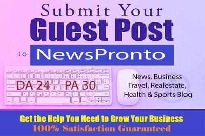 Publish Guest Post on NewsPronto - DA24