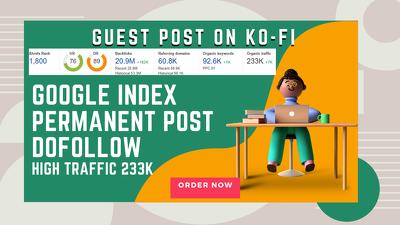 SEO Guest post on Ko-fi High traffic website 233k