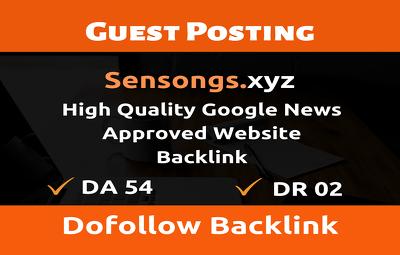 Guest Post on Google News Approved Site Sensongs.xyz - Sensongs