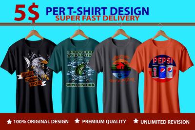 Do modern custom and trendy t shirt design in 24 hours
