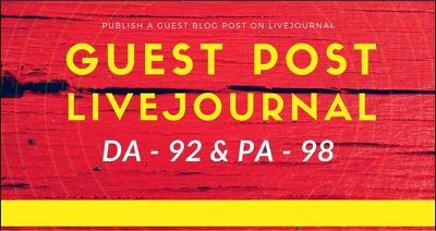Publish Guest Post On Livejournal. com DA 92 and It's permanent