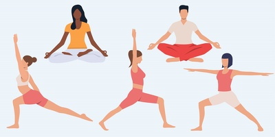Create people, medical, yoga, workout exercise vector line art