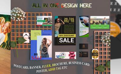 Do professional postcard flyer banner brochure poster design