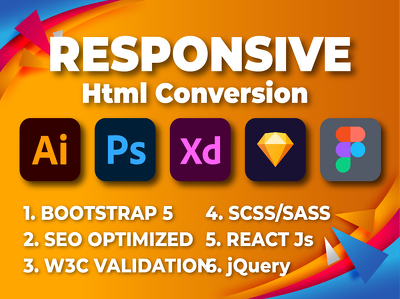 Convert xd/sketch/psd to html using bootstrap 5 (max 5 section)