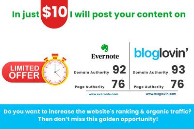 Post your content on 2 portals DA 90+