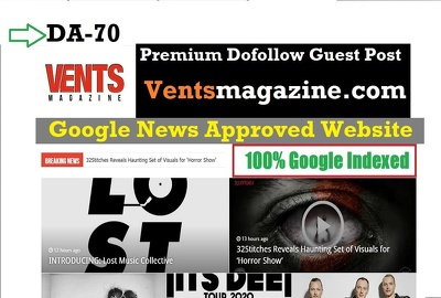 Guest post on google news site on Ventsmagazine.com with DA 70