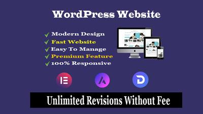 Design WordPress website by elementor pro astra pro, divi theme