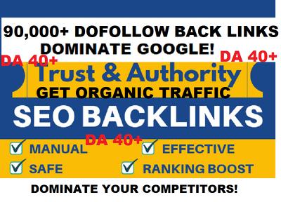 90,000 DoFollow Back Links DA40+ Authority Domains Google Rank
