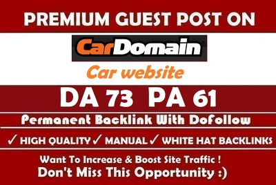 Guest Post on CAR Website Cardomain.com Dofollow Link ( DA 76)