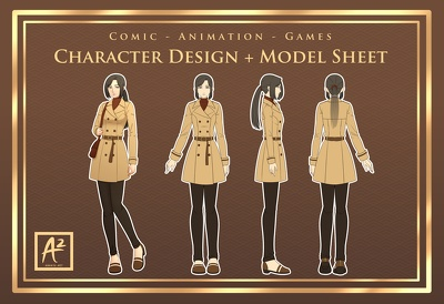 Design a character in manga/anime style + model sheet